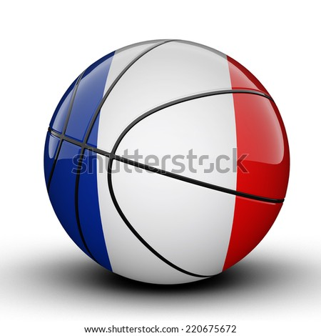 Glossy French Guiana basketball ball flag isolated on white background - stock photo