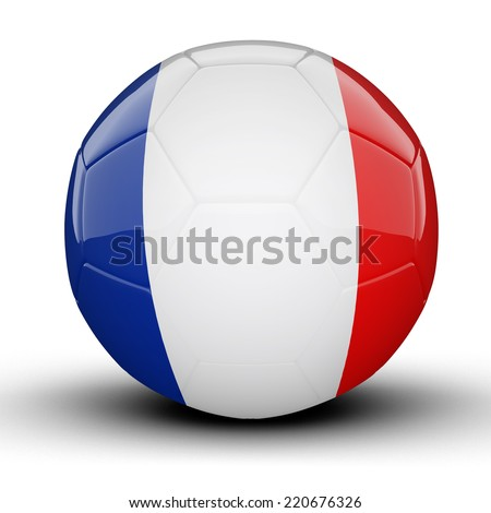 Glossy French Guiana football ball flag isolated on white background - stock photo