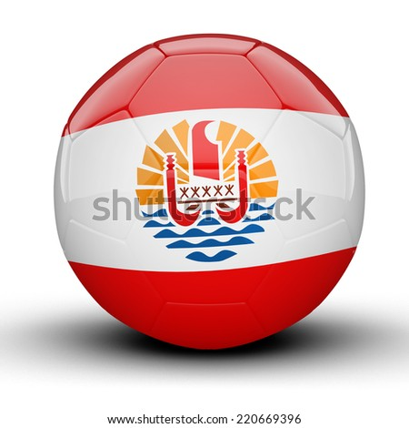 Glossy French Polynesia (France) football ball flag isolated on white background - stock photo