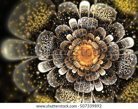 Glossy golden fractal flower, digital artwork for creative graphic design
