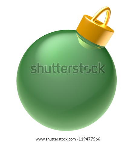 Glossy green 3D Christmas ball isolated on white background - stock photo
