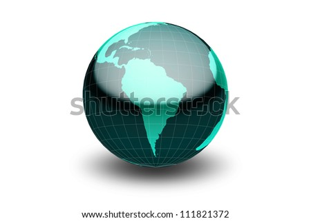 Glossy green globe  with geographical grid facing South America