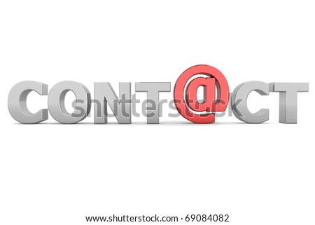 glossy grey word CONTACT - letter a is replaced by a shiny red AT-symbol - stock photo