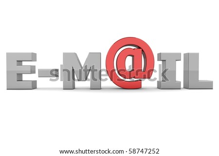 glossy grey word E-MAIL - letter a is replaced by a shiny red AT-symbol - stock photo