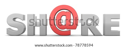 glossy grey word SHARE - letter a is replaced by a shiny red AT-symbol - stock photo