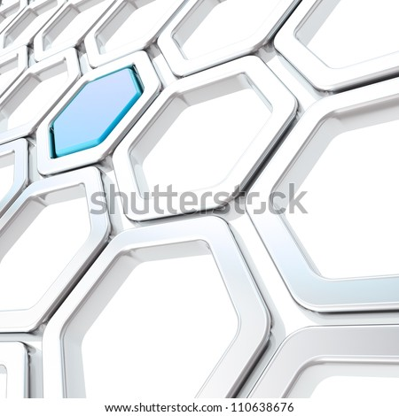 Glossy hexagon segments made of chrome metal and blue plastic element as abstract copyspace background - stock photo