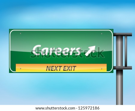 Glossy highway sign with Careers text on a blue background. - stock photo
