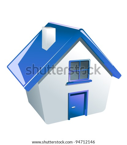 Glossy house icon for web or another design, such a logo. Vector version also available in gallery - stock photo