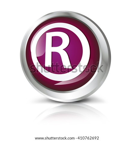 Glossy icon or button with registered trademark symbol.