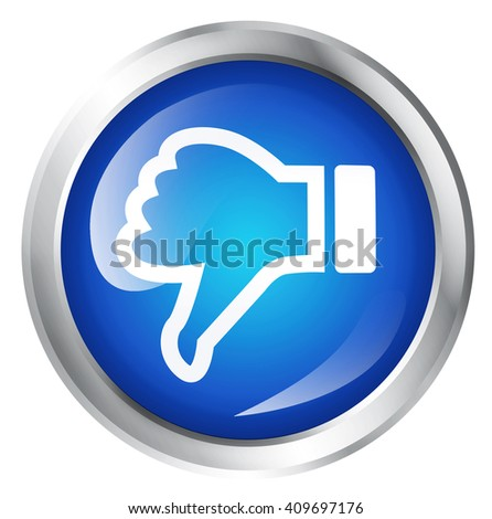 Glossy icon or button with thumbs down symbol. Bad choice sign. - stock photo