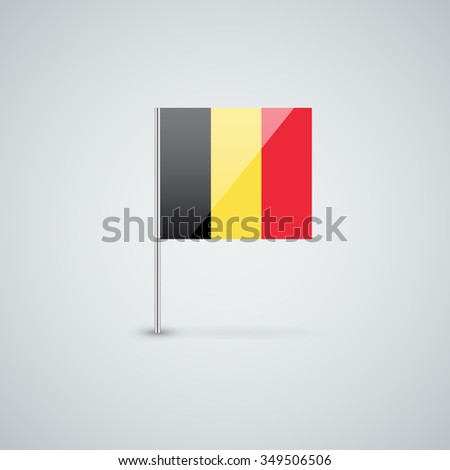 Glossy icon with Belgian flag. Correct proportions and color scheme. - stock photo