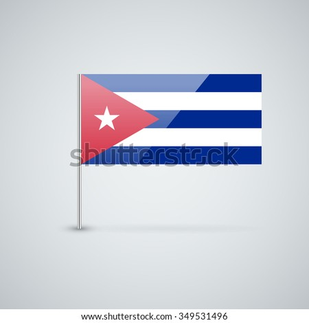 Glossy icon with Cuban flag. Correct proportions and color scheme. - stock photo
