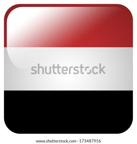 Glossy icon with flag of Yemen - stock photo