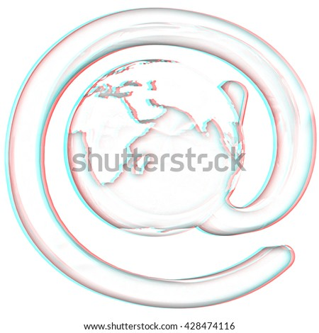 Glossy icon with mail for Earth on a white background. Pencil drawing. 3D illustration. Anaglyph. View with red/cyan glasses to see in 3D. - stock photo