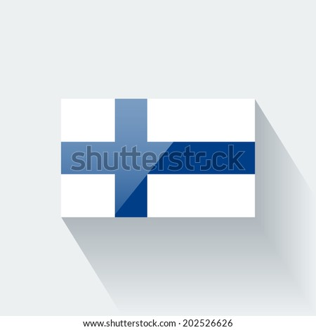 Glossy icon with national flag of Finland. Correct proportions and color scheme. Raster illustration. - stock photo