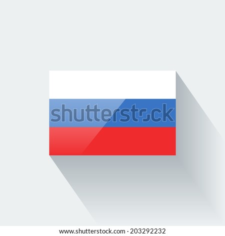 Glossy icon with national flag of Russia. Correct proportions and color scheme. Raster illustration. - stock photo