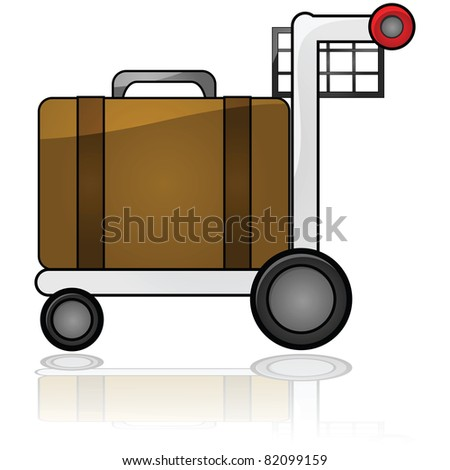 Glossy illustration showing an airport cart carrying a piece of luggage