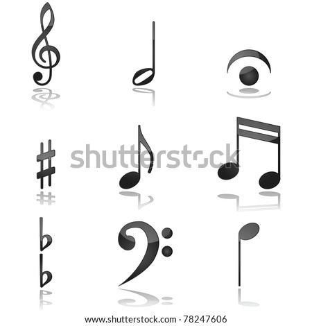 Glossy illustration showing different graphics commonly used in music notations - stock photo