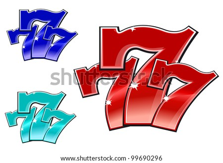 Glossy 777 jackpot symbol isolated on white background. Vector version also available in gallery - stock photo