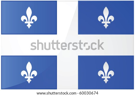 Glossy jpeg illustration of the flag of the province of Quebec, Canada