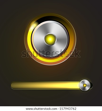 Glossy media player metal button with track bar - stock photo