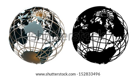 Glossy metallic globe continents on a metal grid facing Australia - with corresponding alpha mask - stock photo