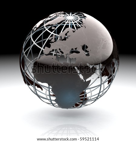 Glossy metallic globe continents on a metal grid facing Europe