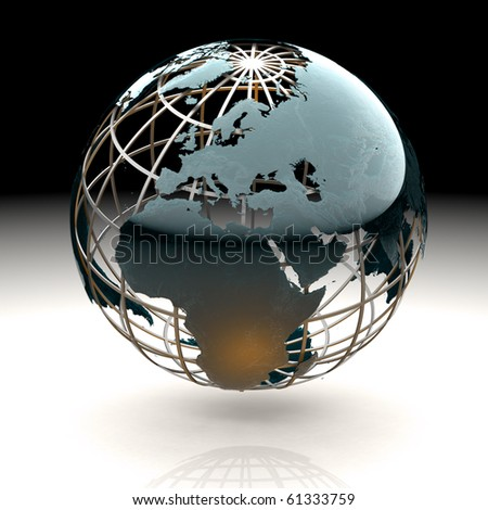 Glossy metallic globe continents on a metal grid facing Europe - stock photo