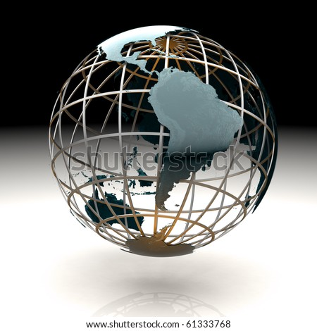 Glossy metallic globe continents on a metal grid facing South America - stock photo