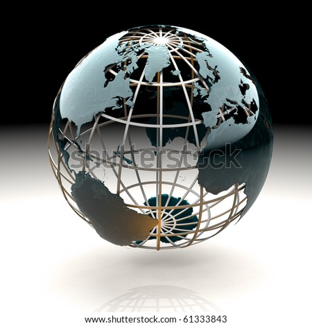 Glossy metallic globe continents on a metal grid facing the Atlantic - stock photo