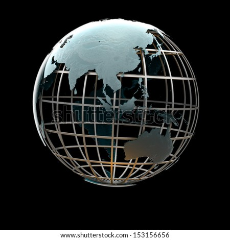 Glossy metallic globe continents on a metal grid facing the South Asia and Indonesia - stock photo