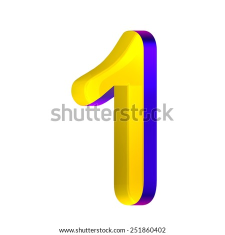 Glossy number one, 1 - stock photo