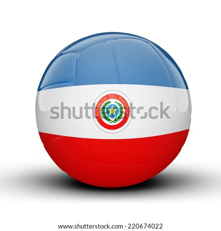 Glossy Paraguay volleyball ball flag isolated on white background