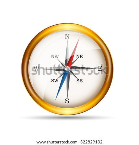 Glossy Realistic Compass. Illustration - stock photo