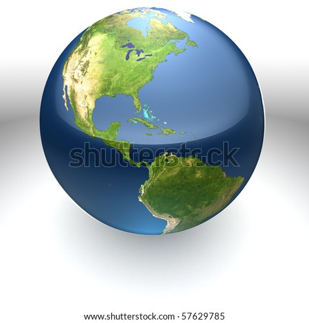 Glossy realistic textured globe facing the Americas