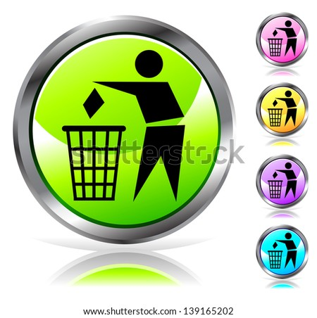 Glossy recycling sign button in different colors. Raster version. Vector is also available in my gallery - stock photo