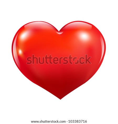 Glossy Red Heart, Isolated On White Background