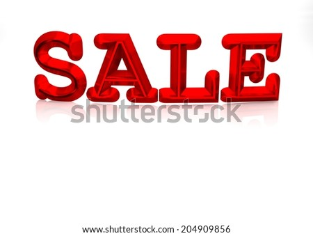 Glossy red three-dimensional inscription Sale as a sign. - stock photo