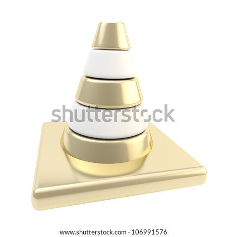 Glossy road cone colored white and golden isolated - stock photo