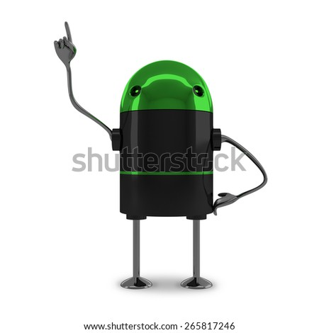 Glossy robot with green head, black body, metallic arms and legs in moment of insight isolated on white background - stock photo
