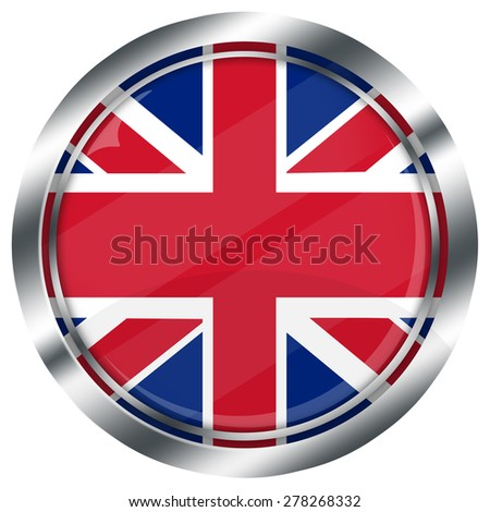 glossy round british flag button for web design with metallic border, illustration, white background, isolated,  - stock photo