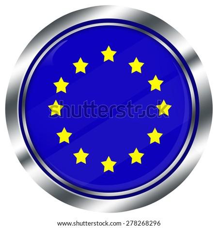 glossy round european union flag button for web design with metallic border, illustration, white background, isolated,  - stock photo