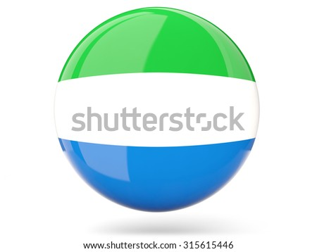 Glossy round icon with flag of sierra leone