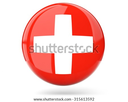 Glossy round icon with flag of switzerland