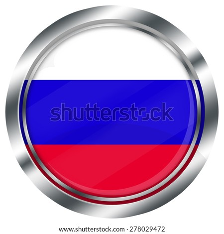 glossy round russian flag button for web design with metallic border, illustration, white background, isolated,  - stock photo