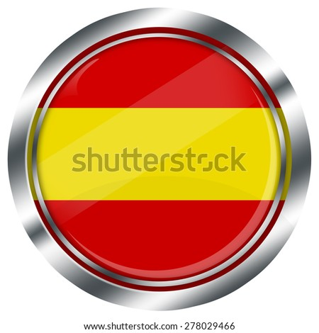 glossy round spanish flag button for web design with metallic border, illustration, white background, isolated,  - stock photo