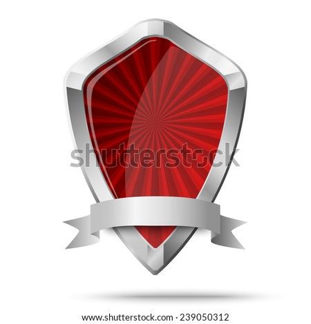 Glossy shield placed on white. Raster version illustration. - stock photo