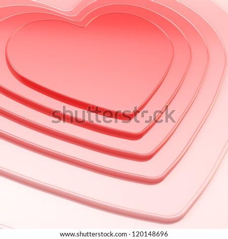 Glossy symbolic heart shape composition as festive background - stock photo