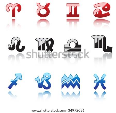 Glossy symbols of horoscope - abstract emblem. Vector version also available - stock photo