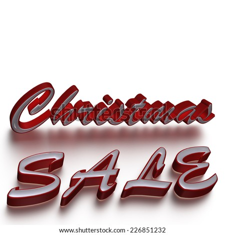 Glossy three-dimensional inscription Christmas Sale as a sign. - stock photo